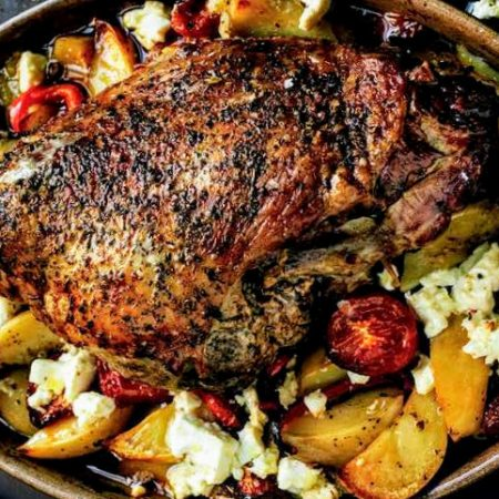 Picture of our roasted lamb shoulder.